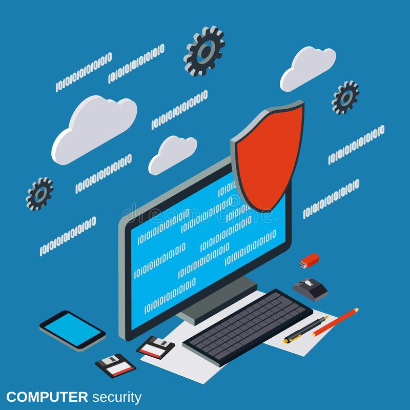 Seguridad informática, concepto del vector de la protección de información stock de ilustración