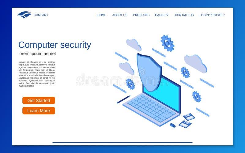 Seguridad informática, concepto isométrico plano del vector 3d de la protección de información ilustración del vector