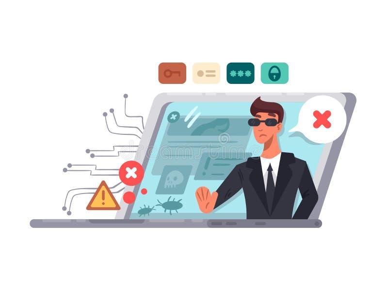 Seguridad informática en línea libre illustration
