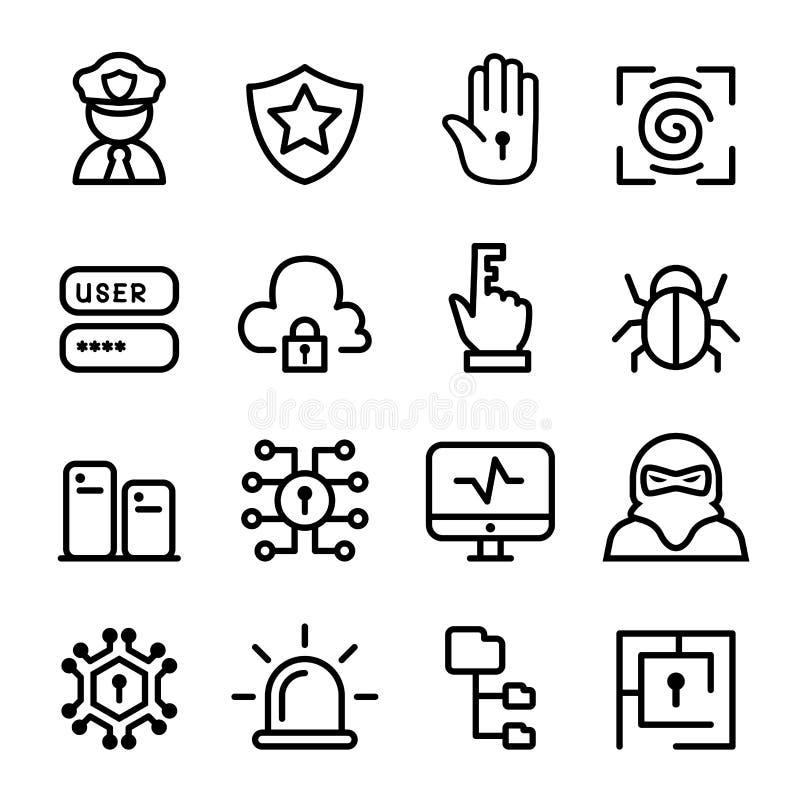 Seguridad informática, red, sistema del icono del software ilustración del vector