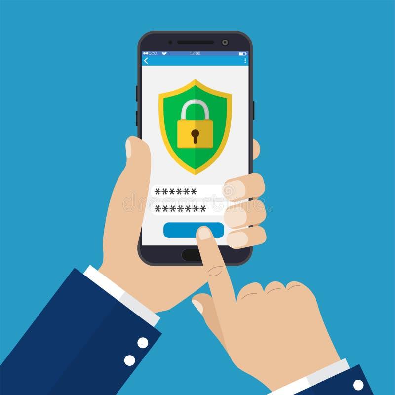 Seguridad móvil app en la pantalla del smartphone stock de ilustración