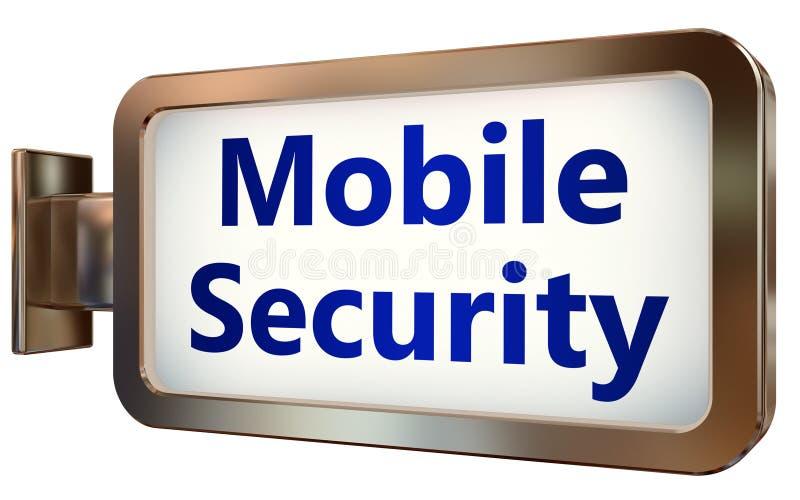 Seguridad móvil en fondo de la cartelera ilustración del vector