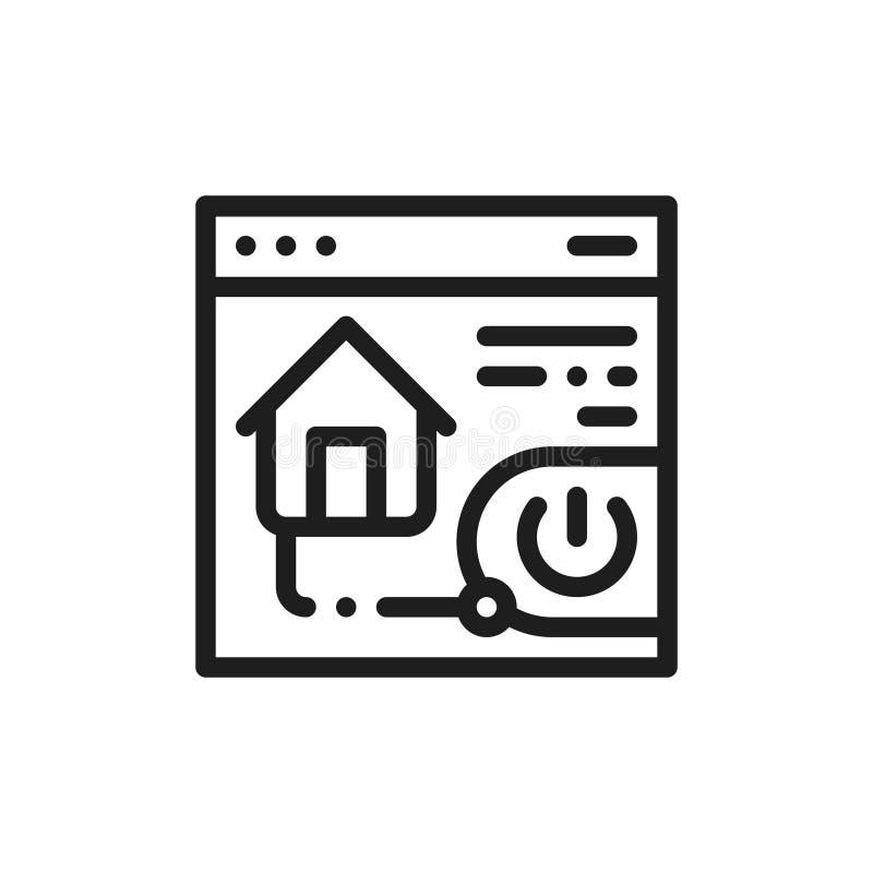Seguridad plana de la casa del icono Concepto de app casero del control Dibujo de esquema aislado ilustración del vector