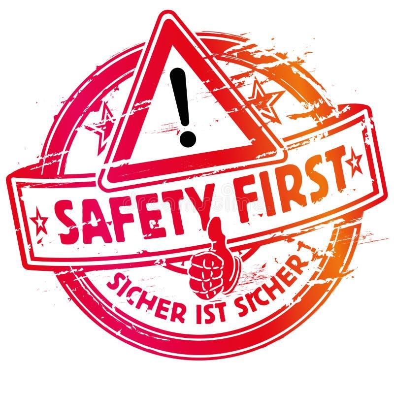 Seguridad primero del sello de goma ilustración del vector