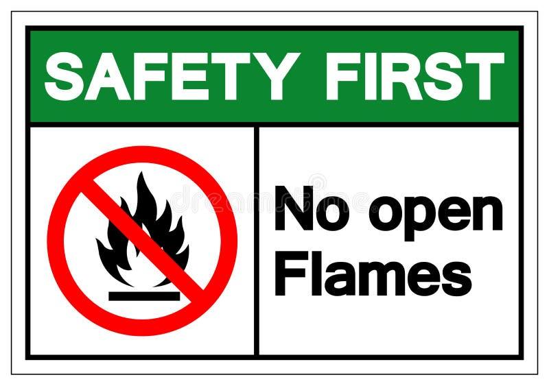 Seguridad primero ninguna muestra del símbolo de las llamas abiertas, ejemplo del vector, aislante en la etiqueta blanca del fond ilustración del vector