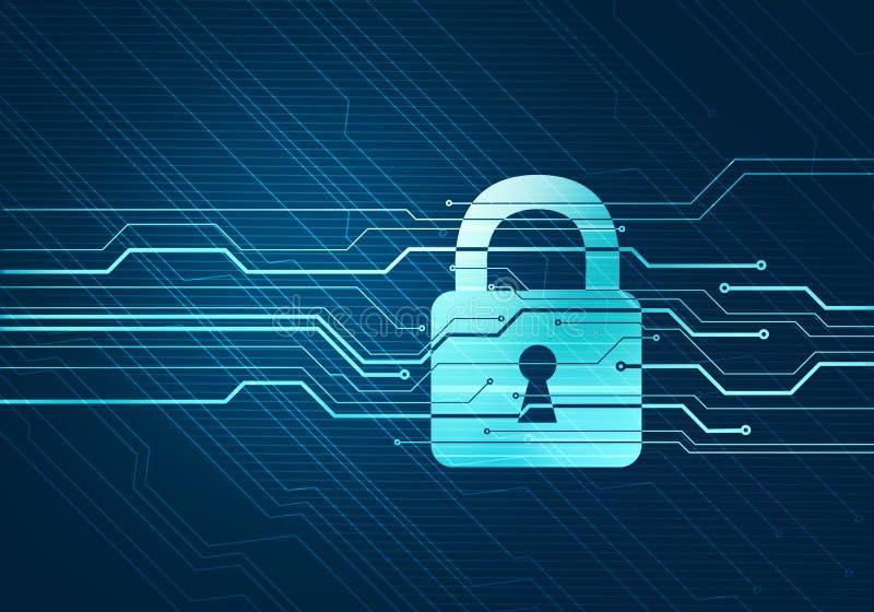 Seguridad y seguridad de datos de Internet con la cerradura stock de ilustración