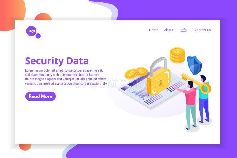Seguridad, seguridad y protección de datos personal confidencial stock de ilustración