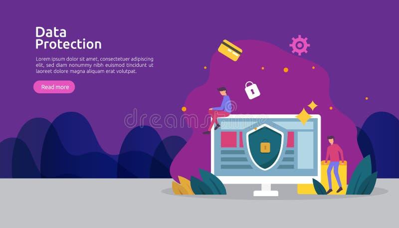 Seguridad y protecci?n de datos confidencial E r stock de ilustración