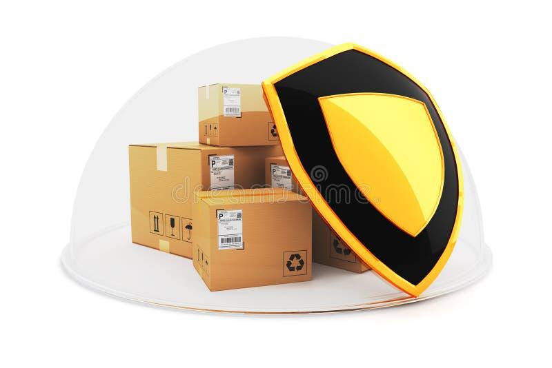 Seguro de cargo de la carga y concepto de la protección de las compras stock de ilustración