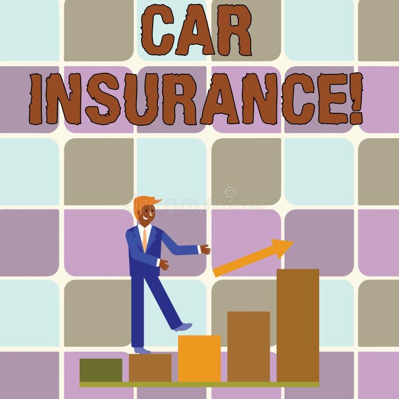 Seguro de coche de la escritura del texto de la escritura Concepto que significa la protecci?n contra p?rdida financiera en caso  stock de ilustración