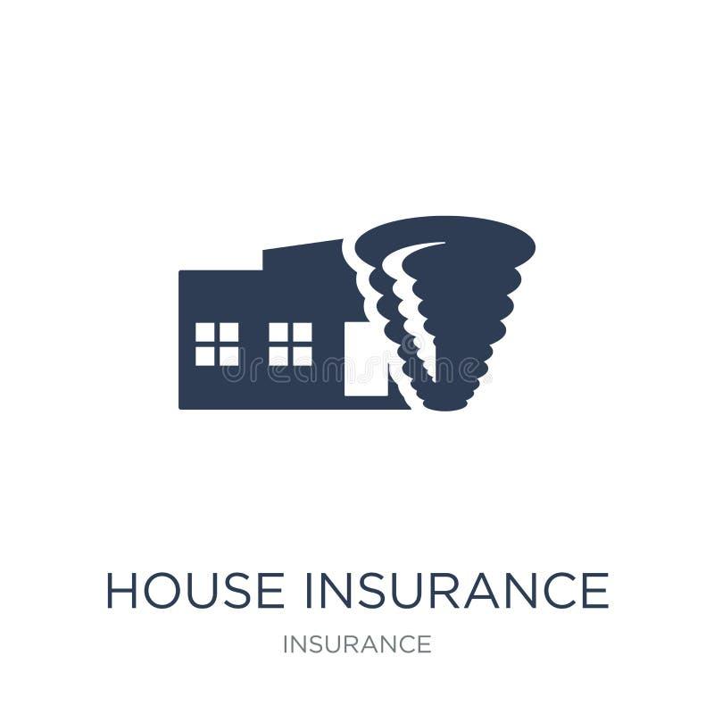 Seguro de la casa para el icono de las tormentas Insura plano de moda de la casa del vector libre illustration