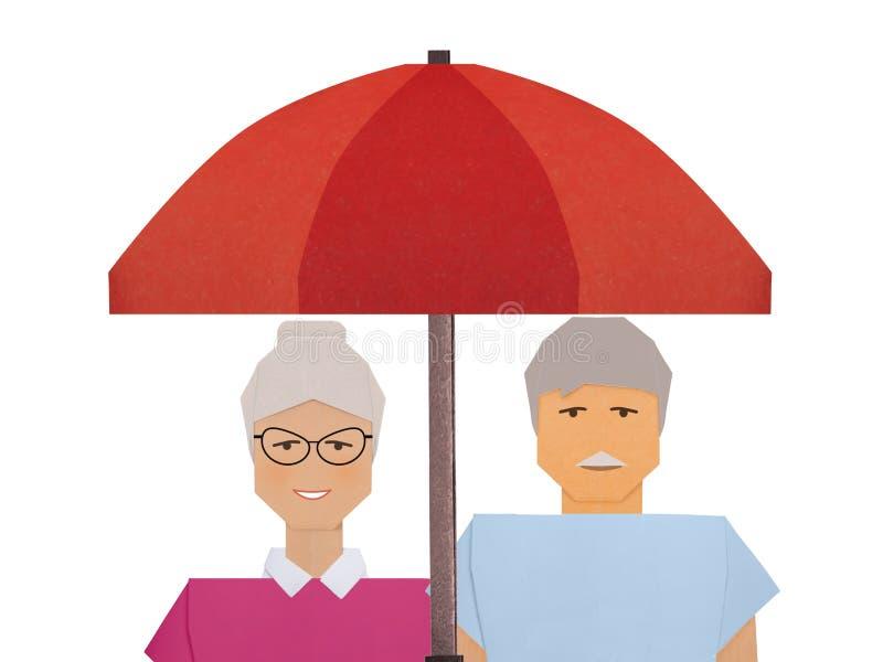 Seguro de la protección del ejemplo social del concepto de los pensionistas foto de archivo libre de regalías