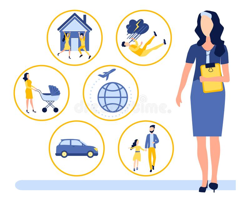 Seguro de la vida humana, salud, propiedades inmobiliarias, propiedad personal, seguro de accidente durante el viaje Agente de se stock de ilustración