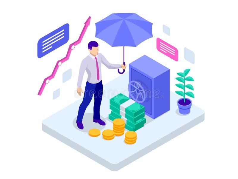 Seguro de negocio isométrico, seguro de la inversión y concepto del almacenamiento del dinero Ilustración del vector ilustración del vector