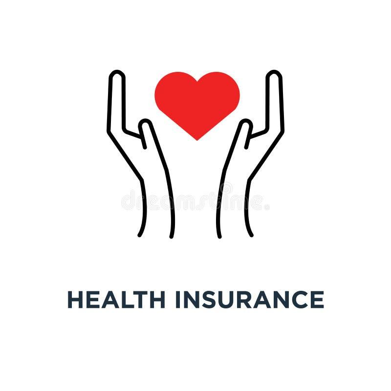 seguro de saúde com ícone das mãos da mulher do contorno, do logotype moderno linear da medicina da tendência do estilo do símbol ilustração do vetor