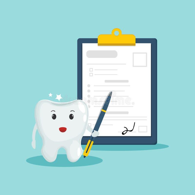Seguro dental, concepto del cuidado dental Diente limpio y brillante con la pluma y el impreso firmado del seguro dental Diseño p stock de ilustración