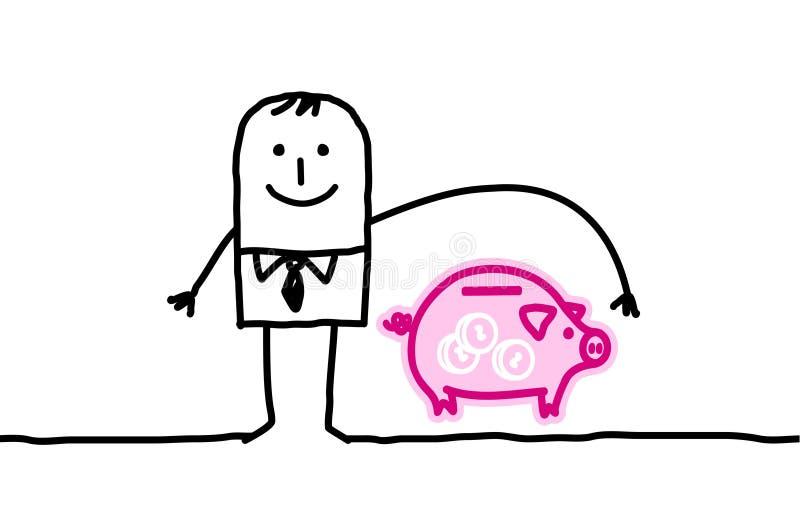 Seguro do homem & do banq ilustração royalty free