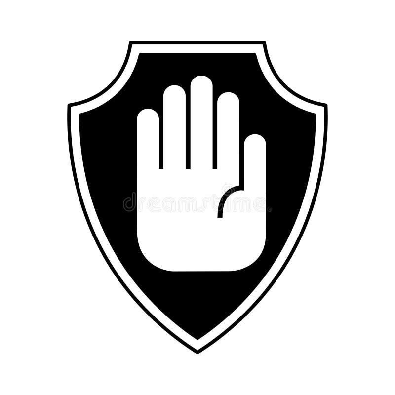 Seguro do protetor com ícone isolado parada da mão ilustração royalty free