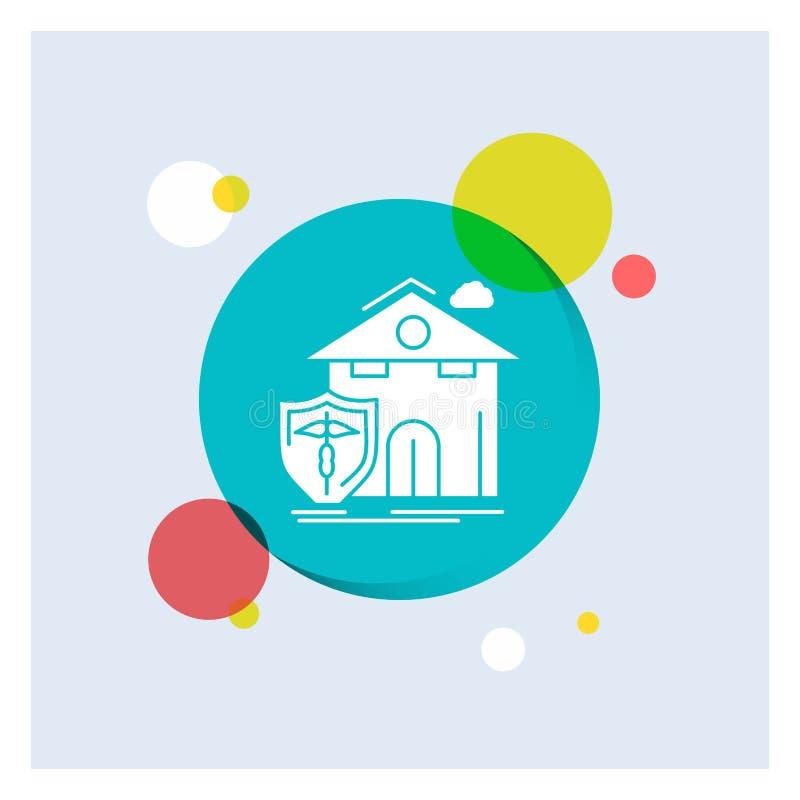 seguro, hogar, casa, muerte, fondo colorido del círculo del icono blanco del Glyph de la protección ilustración del vector