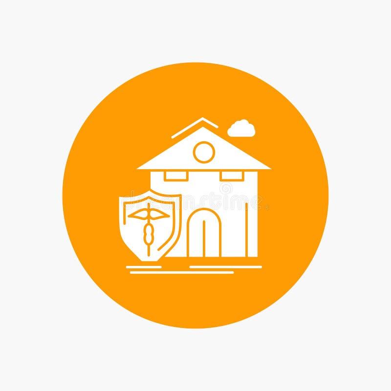 seguro, hogar, casa, muerte, icono blanco del Glyph de la protección en círculo Ejemplo del bot?n del vector libre illustration