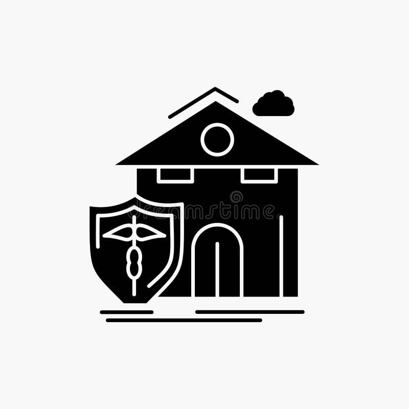 seguro, hogar, casa, muerte, icono del Glyph de la protección Ejemplo aislado vector ilustración del vector