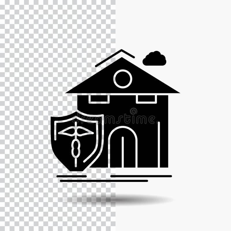 seguro, hogar, casa, muerte, icono del Glyph de la protección en fondo transparente Icono negro ilustración del vector