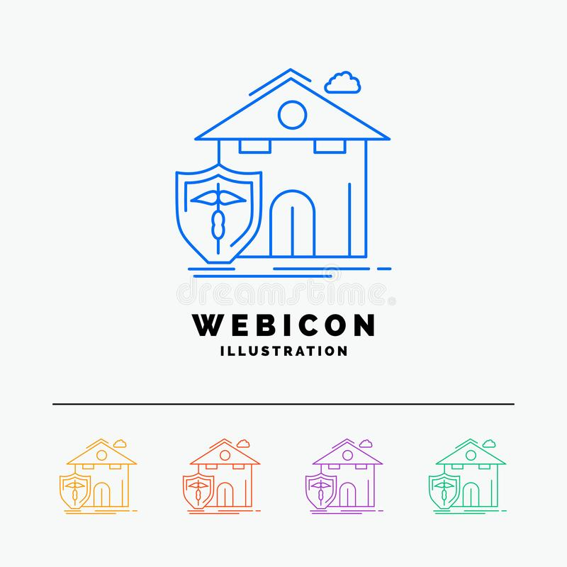 seguro, hogar, casa, muerte, línea de color de la protección 5 plantilla del icono de la web aislada en blanco Ilustraci?n del ve libre illustration