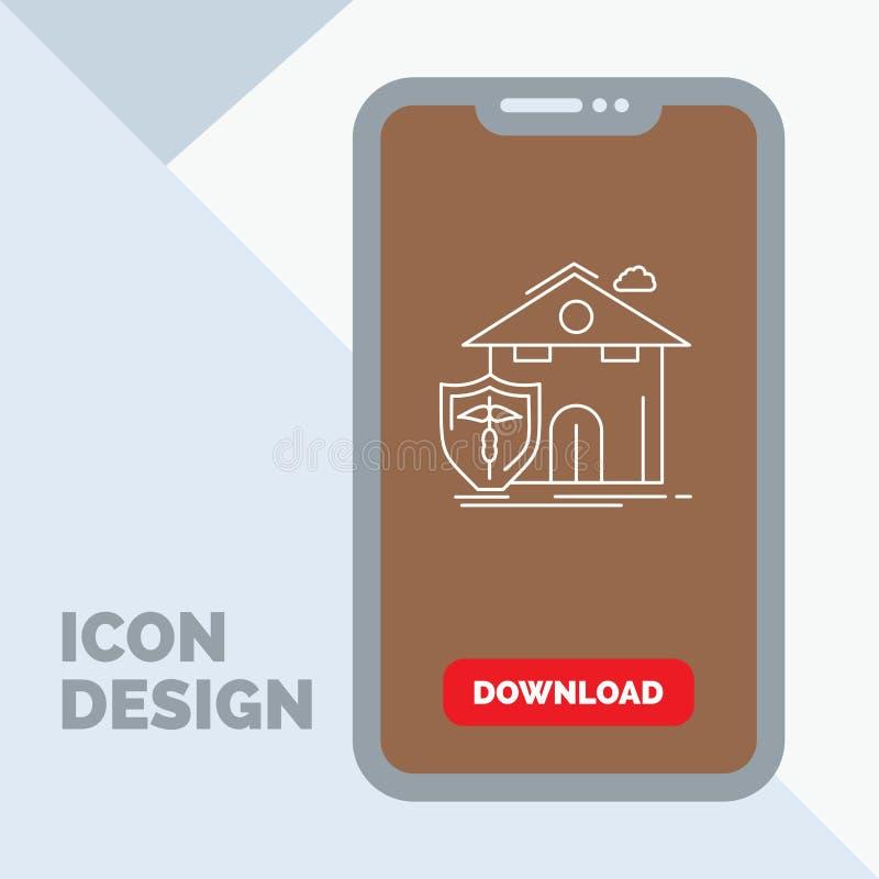 seguro, hogar, casa, muerte, línea icono de la protección en el móvil para la página de la transferencia directa libre illustration