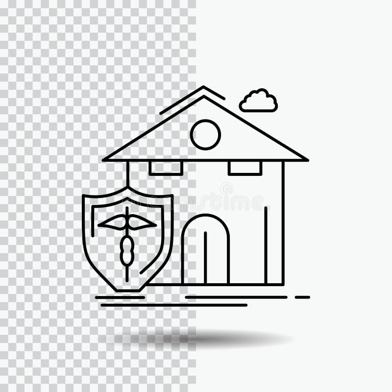 seguro, hogar, casa, muerte, línea icono de la protección en fondo transparente Ejemplo negro del vector del icono ilustración del vector
