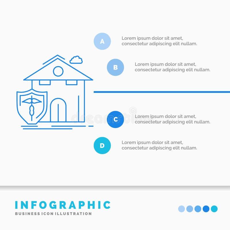 seguro, hogar, casa, muerte, plantilla de Infographics de la protección para la página web y presentación L?nea estilo infographi libre illustration