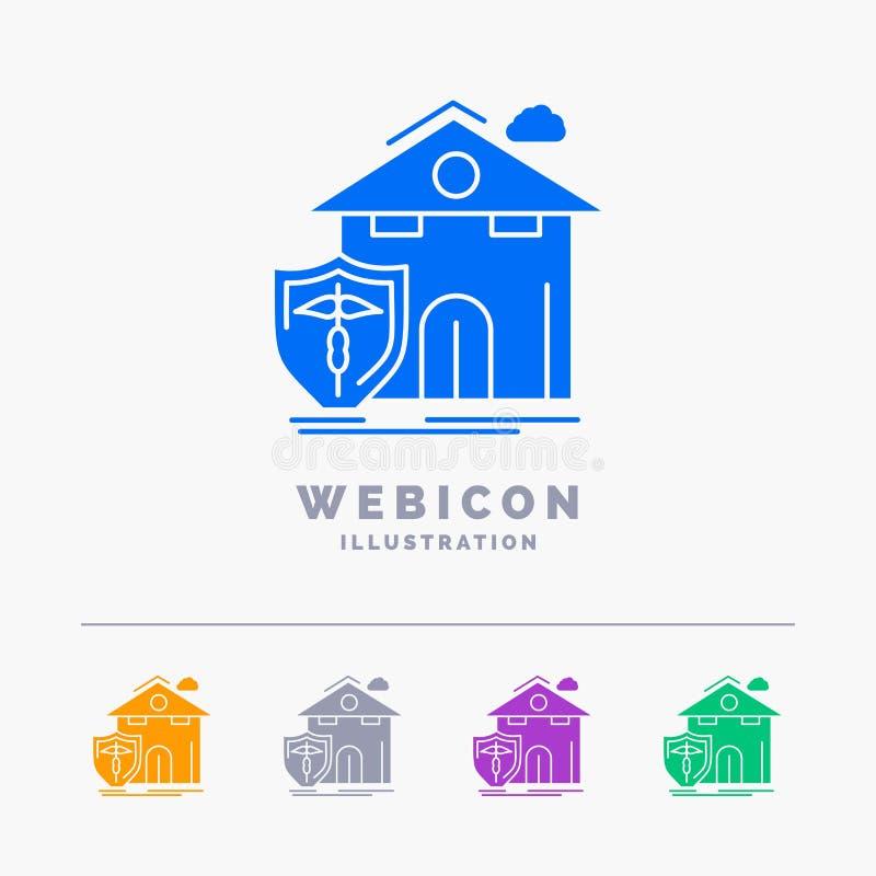 seguro, hogar, casa, muerte, plantilla del icono de la web del Glyph del color de la protección 5 aislada en blanco Ilustraci?n d libre illustration