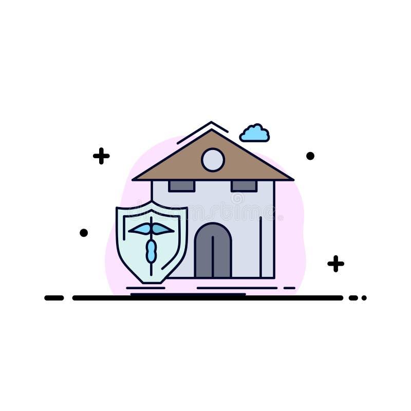 seguro, hogar, casa, muerte, vector plano del icono del color de la protección stock de ilustración