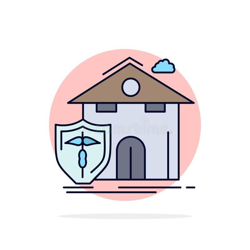 seguro, hogar, casa, muerte, vector plano del icono del color de la protección ilustración del vector
