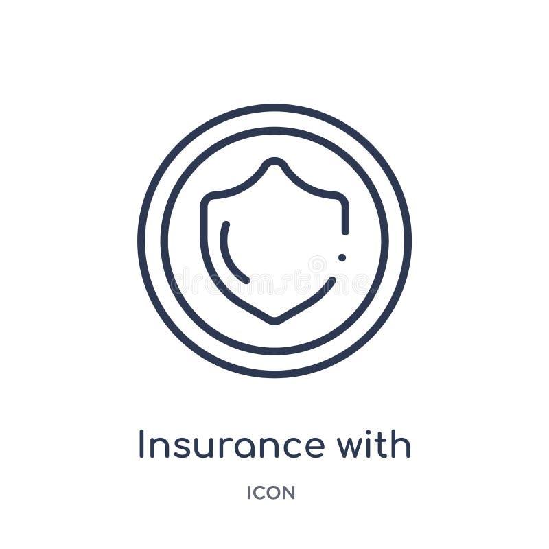 Seguro linear con un icono del botón de la colección del esquema general Línea fina seguro con un icono del botón aislado en blan stock de ilustración