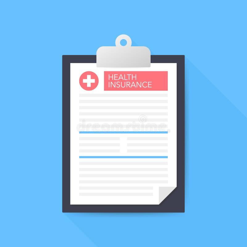 Seguro médico Tablero con la cruz médica Expediente clínico, prescripción, demanda, informe médico, conceptos del seguro médico stock de ilustración