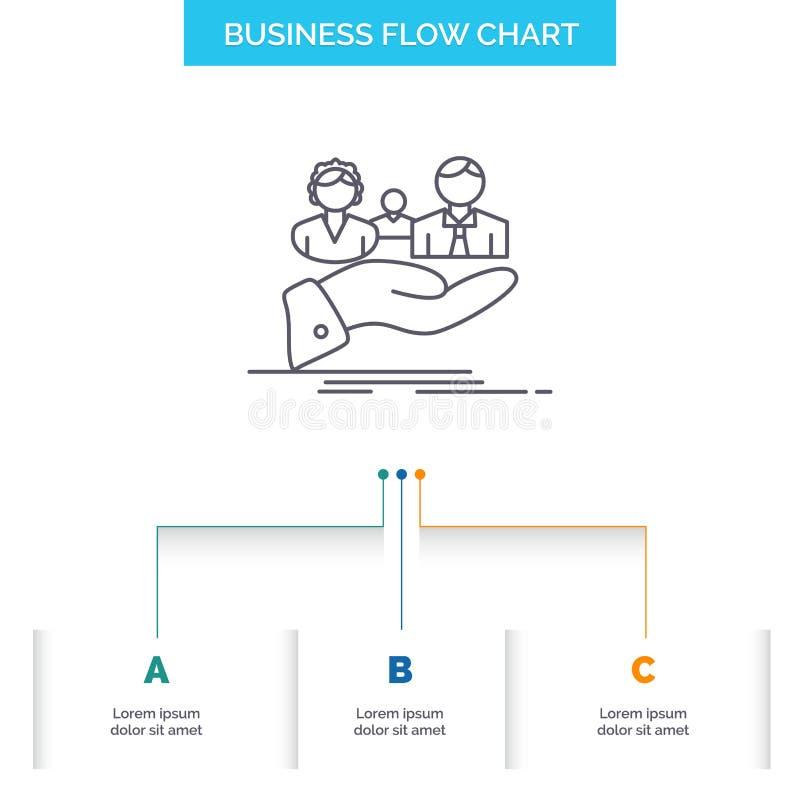 seguro, salud, familia, vida, diseño del organigrama del negocio de la mano con 3 pasos L?nea icono para la plantilla del fondo d libre illustration