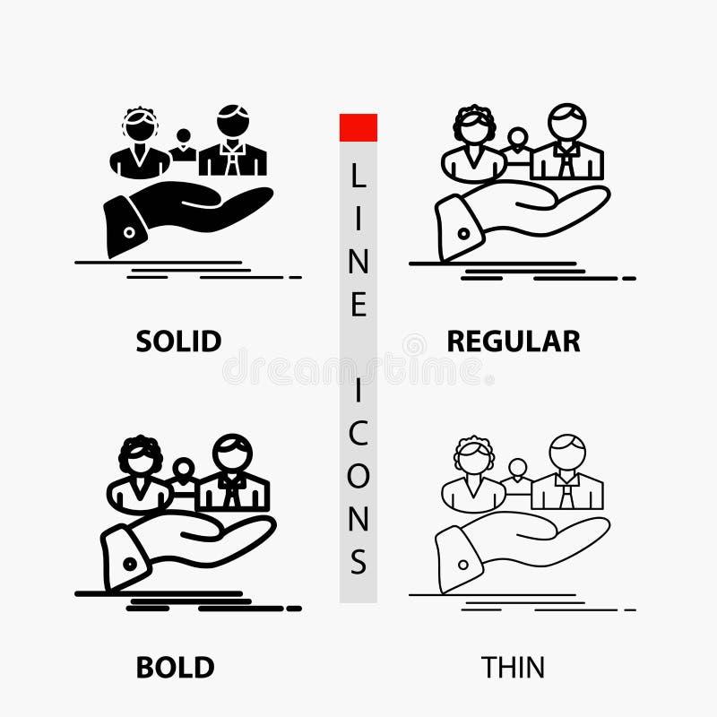 seguro, salud, familia, vida, icono de la mano en línea y estilo finos, regulares, intrépidos del Glyph Ilustraci?n del vector ilustración del vector