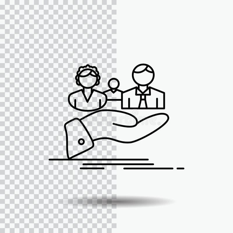 seguro, salud, familia, vida, línea de mano icono en fondo transparente Ejemplo negro del vector del icono stock de ilustración