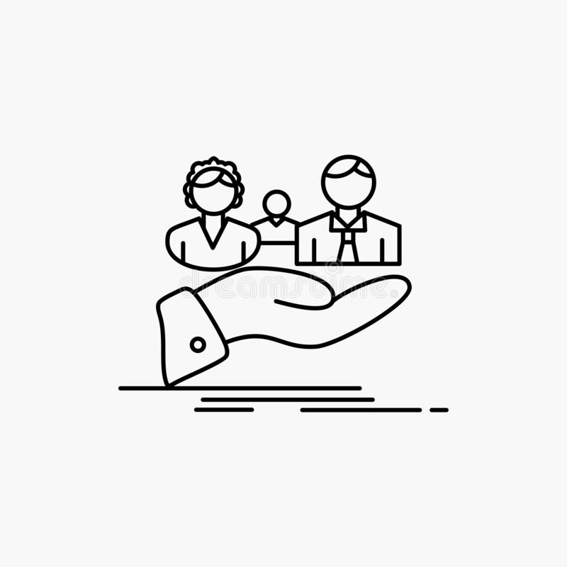 seguro, salud, familia, vida, l?nea de mano icono Ejemplo aislado vector ilustración del vector