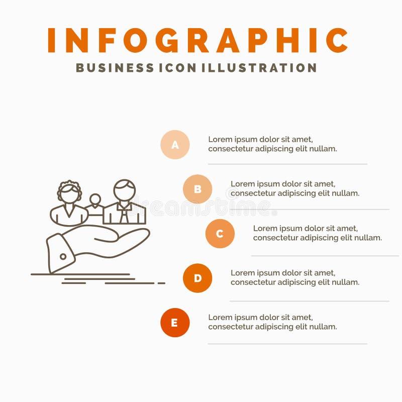 seguro, salud, familia, vida, plantilla de Infographics de la mano para la p?gina web y presentaci?n L?nea icono gris con infogra ilustración del vector