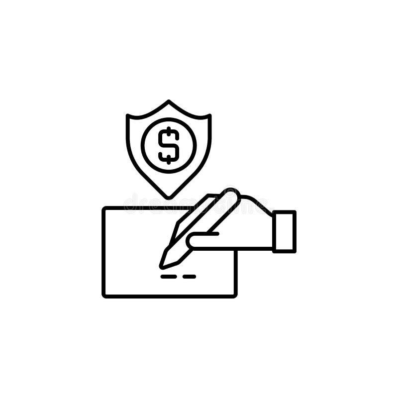seguro, seguridad, dinero, cheque, icono de línea de pedido en fondo blanco libre illustration