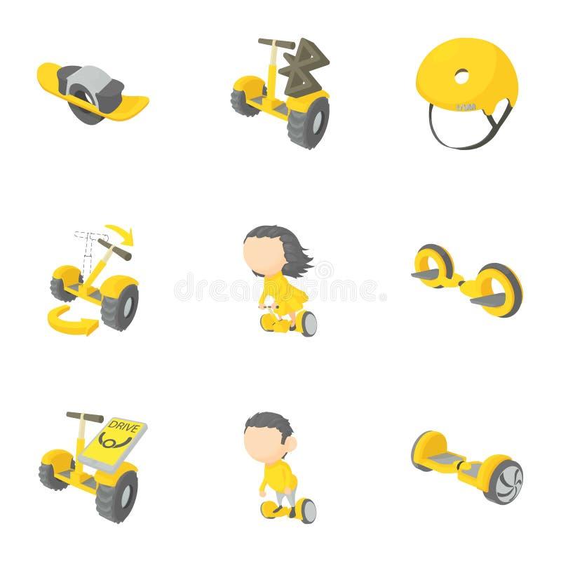 Segway, monowheel, hoverboard geplaatste pictogrammen, royalty-vrije illustratie