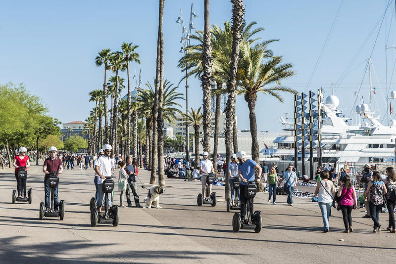 Segway tour Barcelona stock photography