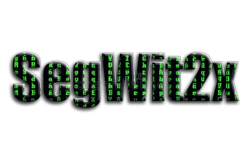 SegWit2x 题字有摄影的纹理,描述绿色小故障标志 免版税库存图片