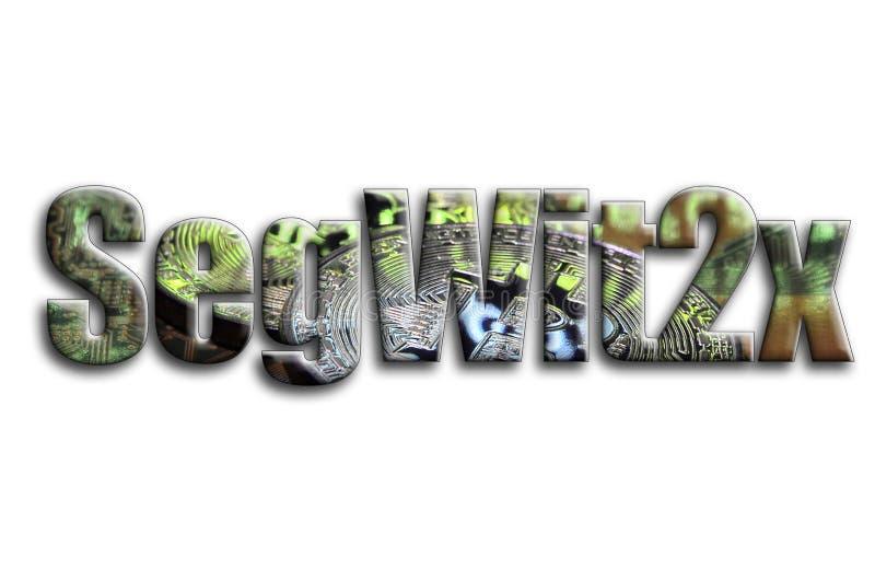 SegWit2x La inscripción tiene una textura de la fotografía, que representa varios bitcoins en un videocard del acelerador de gráf libre illustration