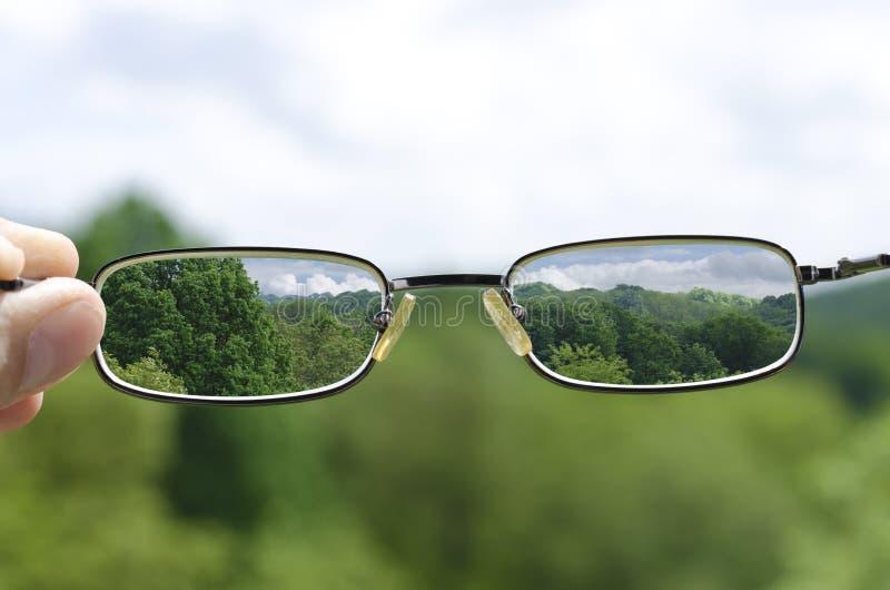 Sehen der Natur durch die Gläser lizenzfreie stockfotos