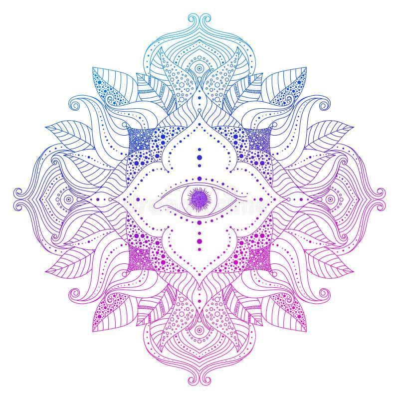Sehen des Auges in der Mandala stock abbildung