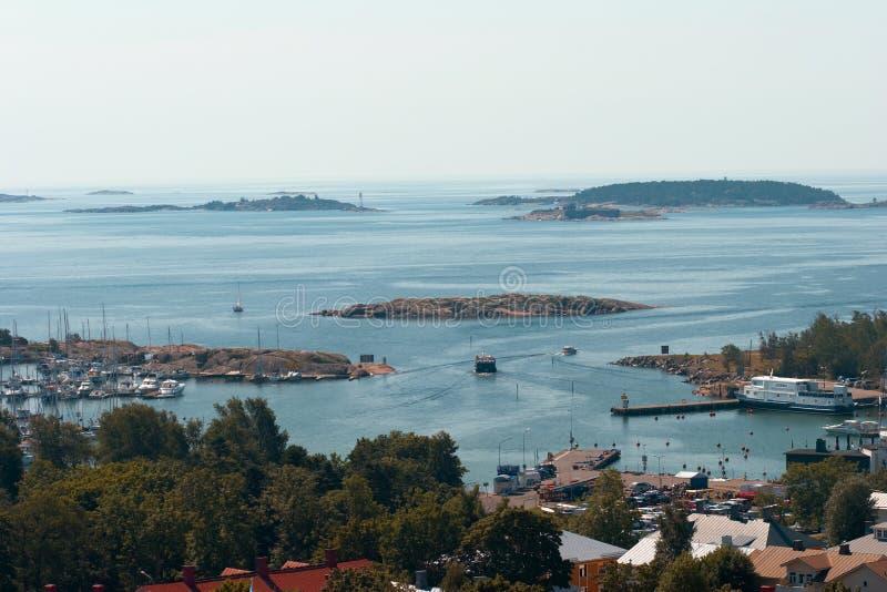 Sehen Sie den Hafen von Hanko vom Waßerturm an stockfotografie