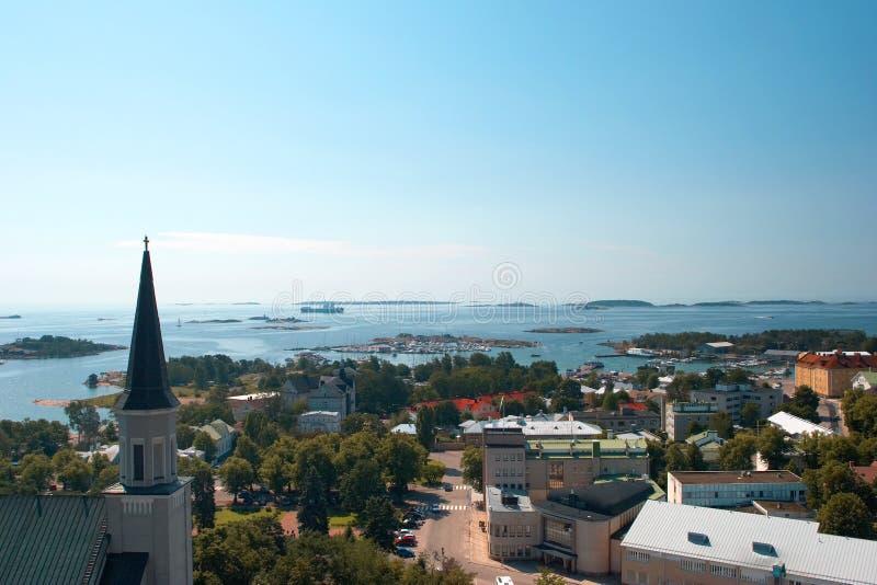 Sehen Sie die Mitte von Hanko vom Waßerturm an lizenzfreies stockfoto