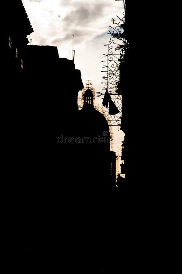 Sehen Sie ein Schattenbild alten Havana-Gebäudes und der capitoli Haube in SU an lizenzfreies stockbild